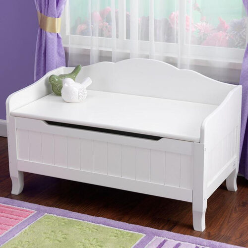 Nantucket Wooden Childs Large Toybox with Bench Seating Top - White