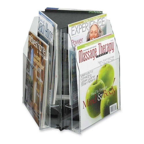 Safco Triangle Tabletop Display - 6 Pocket - 15'' x 15'' x 14'' - Clear