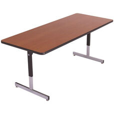 Laminate Top Computer Table with Adjustable Height Pedestal Legs - 24''W x 96''D x 22''H - 29''H