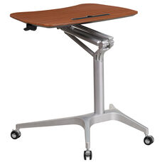 Mobile Sit-Down, Stand-Up Mahogany Computer Desk with 28.25''W Top (Adjustable Range 29'' - 41'')