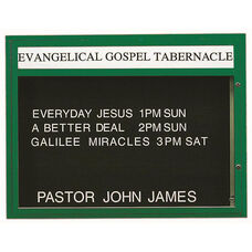 Double Sided Illuminated Community Board with Header and Green Powder Coat Finish - 36''H x 47''W