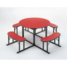 Customizable Round Backless Break Room Table with 4 Built in Benches - 60''Dia. x 29''H