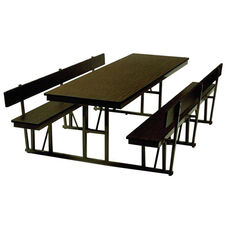 Customizable Standard Lunchroom Table with Back Support and Built in Benches - 68''W x 72''D x 29''H