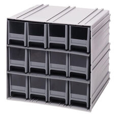 Interlocking Storage Cabinet with 12 Drawers - Gray