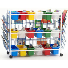 Deluxe Classroom/Library Book Browser Cart with 3 Book Displays and 18 Small Tubs - 41''W x 16''D x 36''H