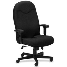 Mayline Group Ortho Comfort High-Back Executive Chair with Adjustable Arms - Black Fabric
