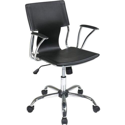 Ave Six Dorado Contour Seat and Back Vinyl Office Chair with Heavy Duty Chrome Base - Black