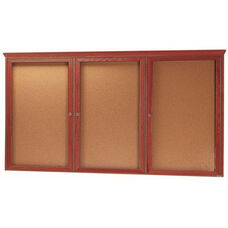 3 Door Enclosed Bulletin Board with Crown Molding and Cherry Finish - 48''H x 96''W