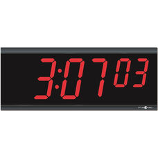 Non-Glare Shatterproof Polycarbonate Digital Clock with 6 Digit LED Display and 30 Day Backup Battery - 15.31''W x 1.5''D x 6.12''H