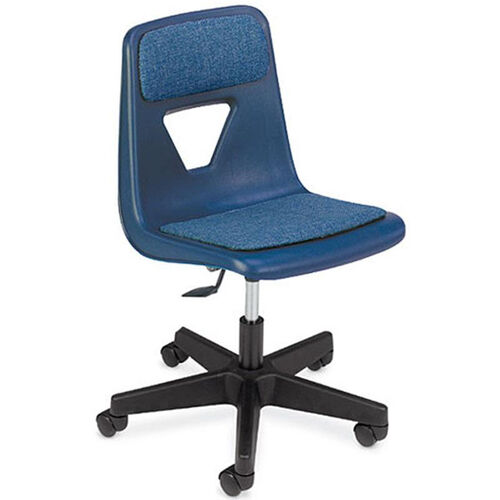 2000 Series Navy Task Chair with Blue Fabric Pads - 25''W x 25''D x 27.62''H - 32.63''H