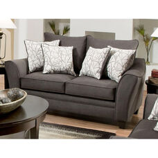 Cupertino Transitional Style Polyester Loveseat - Flannel Seal