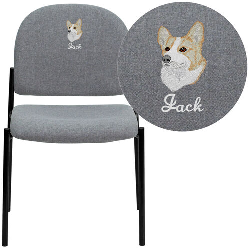 Embroidered Comfort Gray Fabric Stackable Steel Side Reception Chair