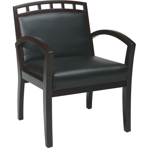 Work Smart Four Leg Guest Chair with Upholstered Wood Crown Back - Mahogany