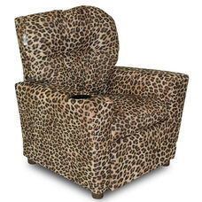 Kids Upholstered Theater Recliner with Cup Holder - Cheetah