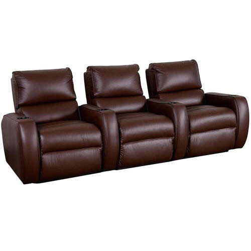 Welbourne Three Seater Home Theater - Straight Arm in Top Grain Leather