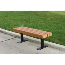 Trailside Recycled Plastic 4' Backless Bench with Black Steel Frame