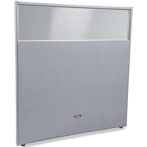 RiZe 63'' H x 61'' W Poly Panel With Translucent Tops and Gray Frame - Gray Vinyl