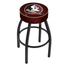 Florida State University 25'' Black Wrinkle Finish Swivel Backless Counter Height Stool with 4'' Thick Seat