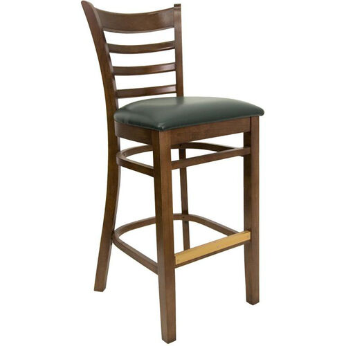 Ladder Back Barstool with Walnut Finish and Gr 2 Green Vinyl Seat