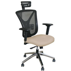 Fermata Executive Mesh Chair with Aluminum Base and Headrest - Flax Fabric