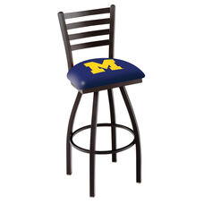 University of Michigan 25'' Black Wrinkle Finish Swivel Counter Height Stool with Ladder Style Back