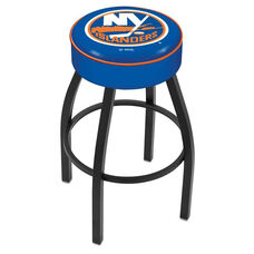 New York Islanders 25'' Black Wrinkle Finish Swivel Backless Counter Height Stool with 4'' Thick Seat