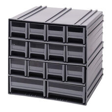 Interlocking Storage Cabinet with 14 Mixed Drawers - Gray
