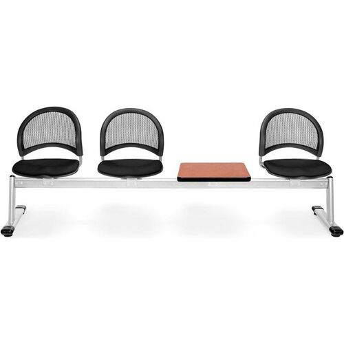 Moon 4-Beam Seating with 3 Black Fabric Seats and 1 Table - Cherry Finish