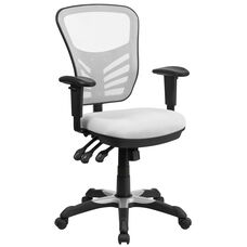 Mid-Back White Mesh Multifunction Executive Swivel Chair with Adjustable Arms