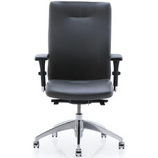 Equs Quick Ship High Back Executive Chair with Polished Chrome Half Loop Arms