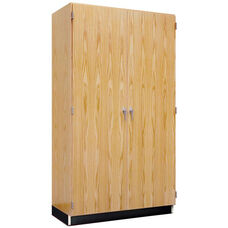 Science Lab Wooden Wall Locking Storage Case with 2 Fixed and 4 Adjustable Shelves - 36''W x 22''D x 84''H