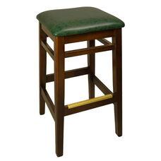 Trevor Walnut Wood Backless Barstool - Green Vinyl Seat
