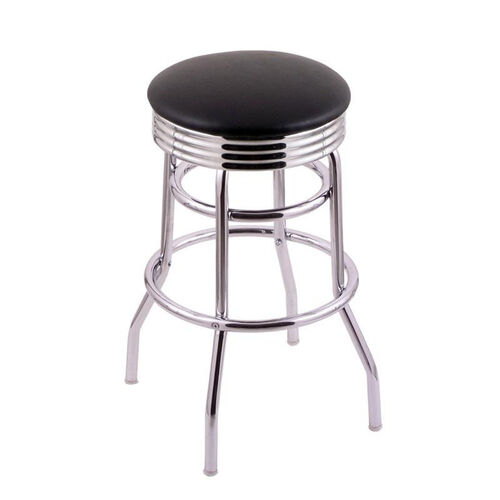 Classic 25'' Chrome Finish Counter Height Swivel Stool with Black Vinyl and 2.5'' Ribbed Accent Ring Seat