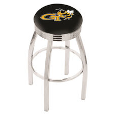 Georgia Institute of Technology 25'' Chrome Finish Swivel Backless Counter Height Stool with 2.5'' Ribbed Accent Ring