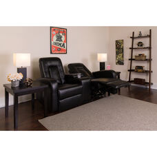 Eclipse Series 2-Seat Push Button Motorized Reclining Black Leather Theater Seating Unit with Cup Holders