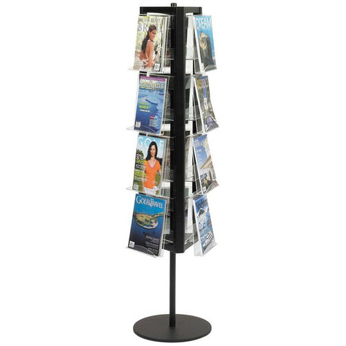 In View™ 16.25'' Dia x 65'' H Steel Acrylic Twelve Pocket Rotary Literature Display - Black