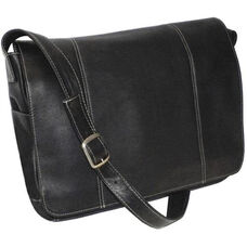 13'' Laptop Messenger Bag - Colombian Vaquetta Leather - Black