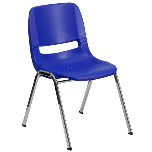 HERCULES Series 440 lb. Capacity Navy Ergonomic Shell Stack Chair with Chrome Frame and 14'' Seat Height