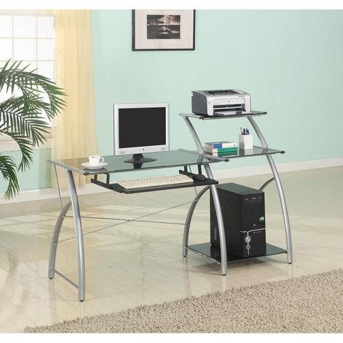 Zigg 57.48'' W x 24'' D x 40'' H Multi-Shelf Computer Cart - Black Glass Top with Silver Frame