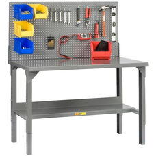 Adjustable Height Welded Workbench with Pegboard - 28''W x 60''D