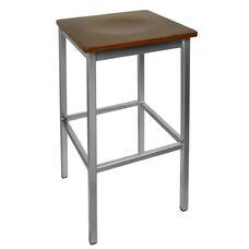 Trent Backless Silver Barstool - Mahogany Wood Seat