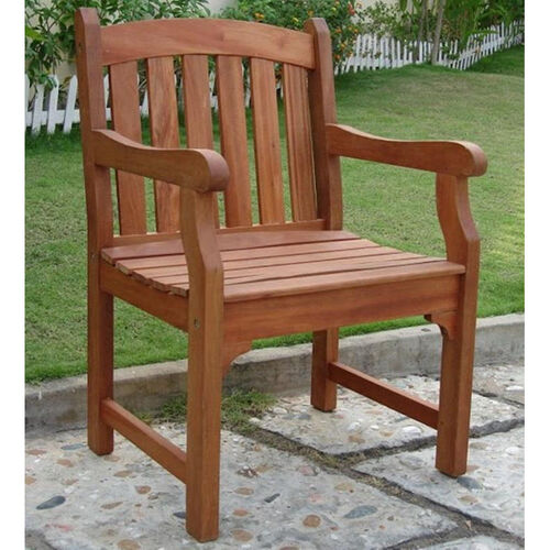 Outdoor Arched Full Vertical Slat Back Arm Chair with Slat Seat