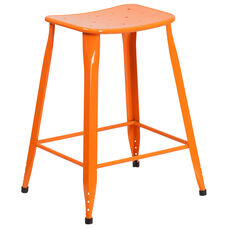24'' High Orange Metal Indoor-Outdoor Counter Height Saddle Comfort Stool