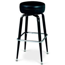 Black Frame Barstool with Square Chrome Footring - Round Black Vinyl Seat