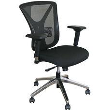 Fermata Executive Mesh Chair with Aluminum Base - Black Fabric
