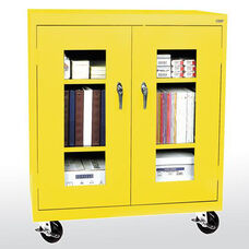 See-Thru Series 36'' W x 18'' D x 48'' H Clear View Mobile Counter Height Cabinet - Yellow