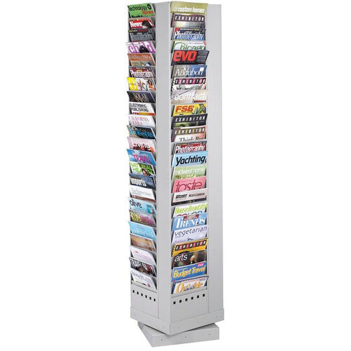 Ninety-Two Pocket Steel Rotary Magazine Rack - Gray