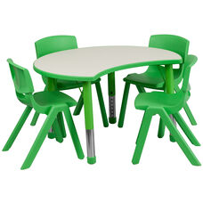 25.125''W x 35.5''L Cutout Circle Green Plastic Height Adjustable Activity Table Set with 4 Chairs