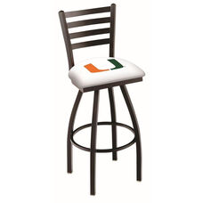 University of Miami 25'' Black Wrinkle Finish Swivel Counter Height Stool with Ladder Style Back