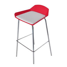 Minimalist Stackable Barstool with Padded Seat - Red